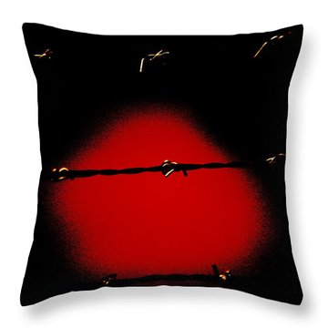 Black Barbed Wire Over Black And Blood Red Background Eerie Imprisonment Scene Throw Pillow