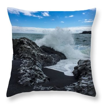 Black Beach In Iceland Throw Pillow