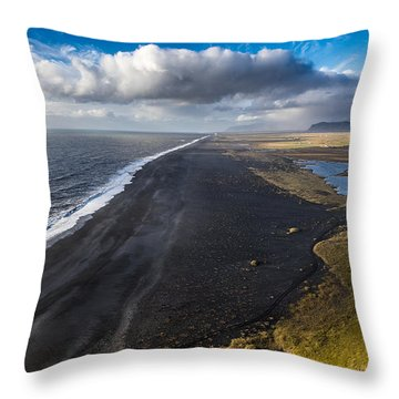 Black Beach Throw Pillow
