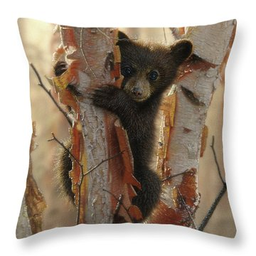 Black Bear Cub - Curious Cub II Throw Pillow
