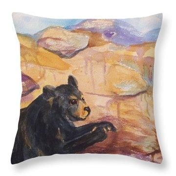 Black Bear Cub Throw Pillow by Ellen Levinson