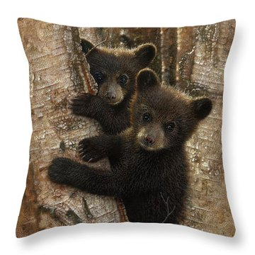 Black Bear Cubs - Curious Cubs Throw Pillow