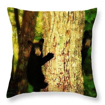 Black Bear Cubs Throw Pillow by Gray  Artus