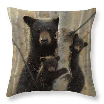 Black Bear Mother And Cubs - Mama Bear Throw Pillow