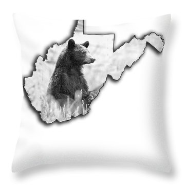 Black Bear Standing Throw Pillow