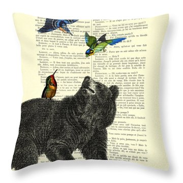 Black Bear With Colorful Tropical Birds Throw Pillow