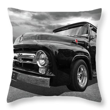 Black Beauty - 1956 Ford F100 Throw Pillow