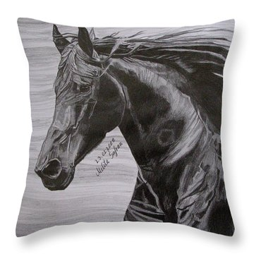 Black Beauty Throw Pillow by Melita Safran