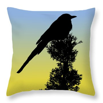 Black-billed Magpie Silhouette At Sunrise Throw Pillow