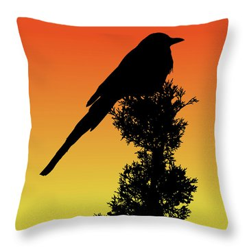Black-billed Magpie Silhouette At Sunset Throw Pillow
