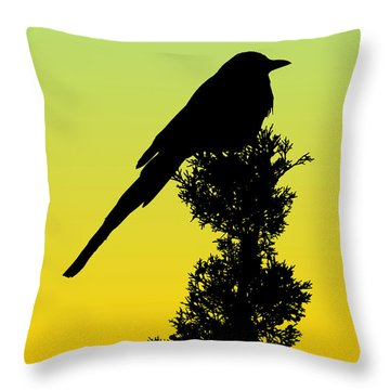 Black-billed Magpie Silhouette - Special Request Background Throw Pillow