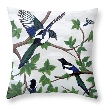 Black Billed Magpies Throw Pillow