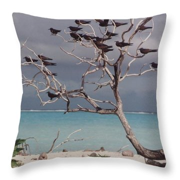 Throw Pillow featuring the photograph Black Birds by Mary-Lee Sanders