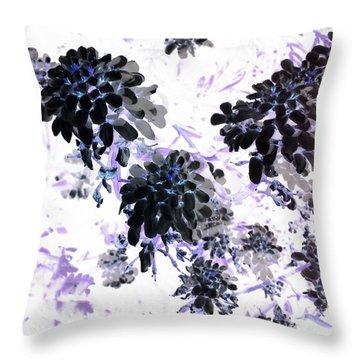 Black Blooms I Throw Pillow