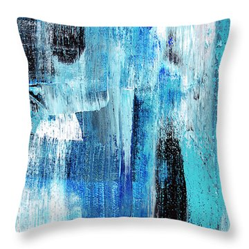Throw Pillow featuring the painting Black Blue Abstract Painting by Christina Rollo
