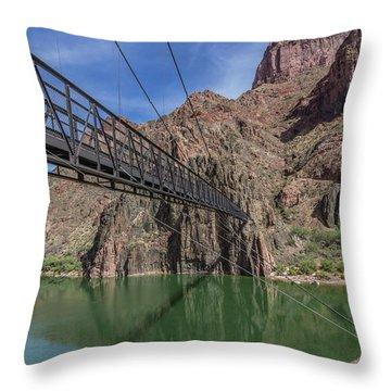 Black Bridge Over The Colorado River At Bottom Of Grand Canyon Throw Pillow