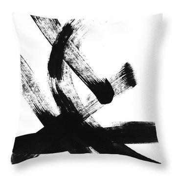 Black Brushstrokes 2- Art By Linda Woods Throw Pillow
