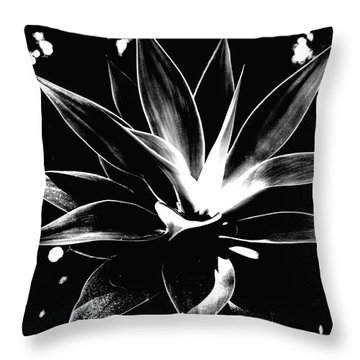 Black Cactus  Throw Pillow by Rebecca Harman