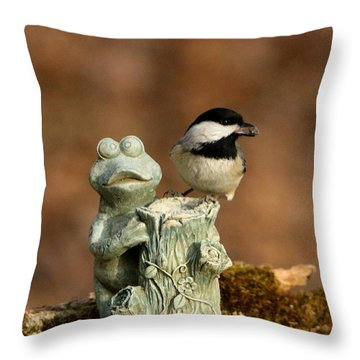 Black-capped Chickadee And Frog Throw Pillow by Sheila Brown