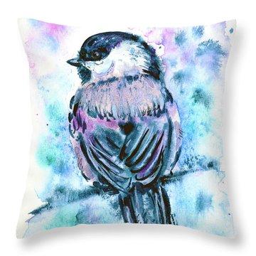 Throw Pillow featuring the painting Black-capped Chickadee by Zaira Dzhaubaeva