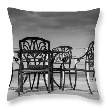 Black Cast Iron Seats Throw Pillow