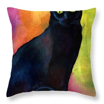 Black Cat 9 Watercolor Painting Throw Pillow