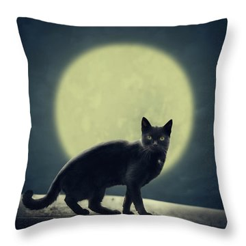 Black Cat And Full Moon Throw Pillow