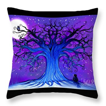 Throw Pillow featuring the drawing Black Cat And Night Owl by Nick Gustafson