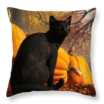 Black Cat At Halloween Throw Pillow by Daniel Eskridge