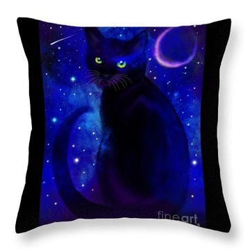 Throw Pillow featuring the painting Black Cat Blues  by Nick Gustafson