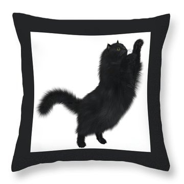Black Cat Throw Pillow by Corey Ford