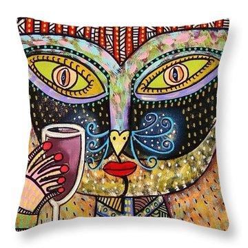 Black Cat Drinking Red Wine Throw Pillow by Sandra Silberzweig