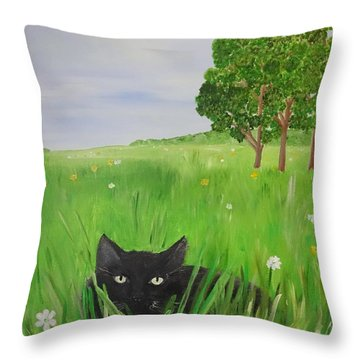 Black Cat In A Meadow Throw Pillow
