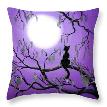 Black Cat In Mossy Tree Throw Pillow