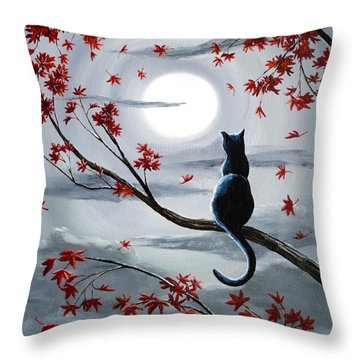 Black Cat In Silvery Moonlight Throw Pillow