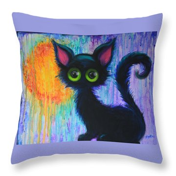 Throw Pillow featuring the painting Black Cat In The Rain by Agata Lindquist