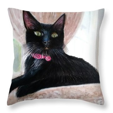 Black Cat Throw Pillow by Jan VonBokel