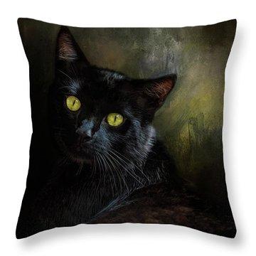Black Cat Portrait Throw Pillow