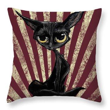 Black Cat Revolution Throw Pillow
