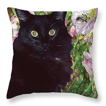Black Cat Startled By A Bee Throw Pillow