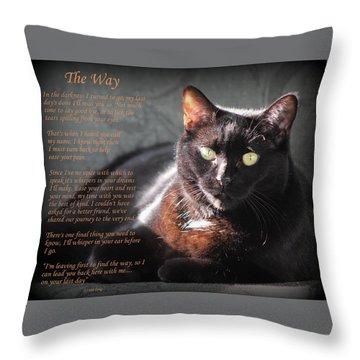 Black Cat The Way Throw Pillow
