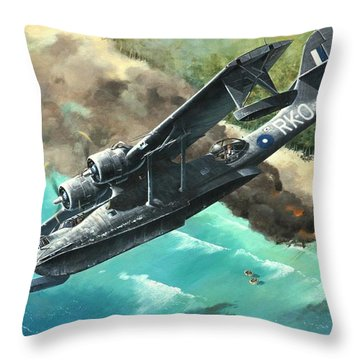 'black Cat To The Rescue' Throw Pillow