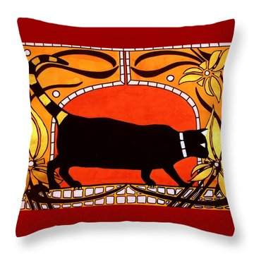 Throw Pillow featuring the painting Black Cat With Floral Motif Of Art Nouveau By Dora Hathazi Mendes by Dora Hathazi Mendes