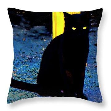 Black Cat Yellow Eyes Throw Pillow by Gina O'Brien