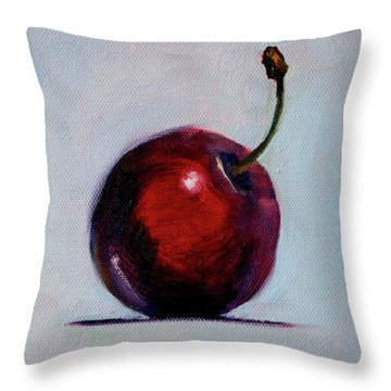 Throw Pillow featuring the painting black Cherry by Nancy Merkle