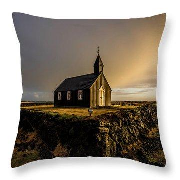 Black Church Golden Hour Throw Pillow