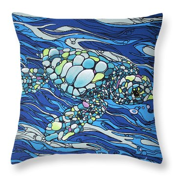 Black Contour Turtle Throw Pillow
