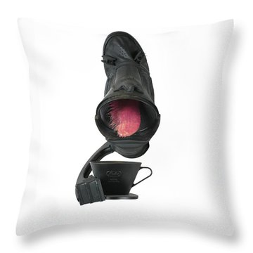 Black Coughee Throw Pillow by Michael Jude Russo