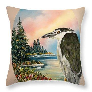 Black Crowned Heron Throw Pillow