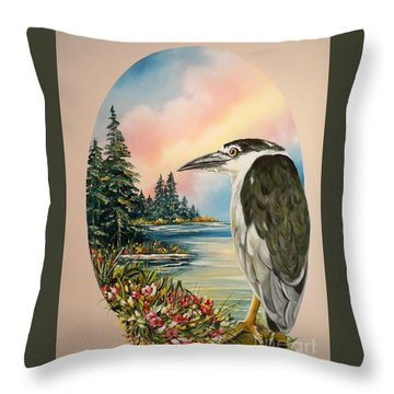 Flying Lamb Productions                     Black Crowned Heron Throw Pillow